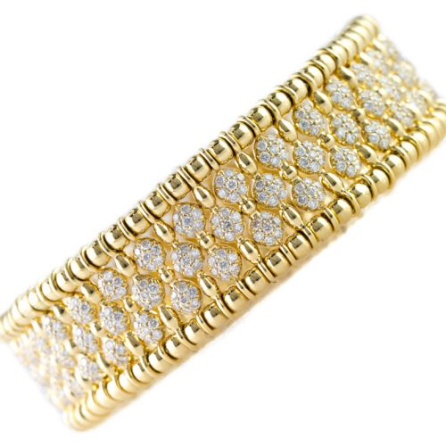 , Italian Designed Cuff with Diamonds in 18K Yellow Gold