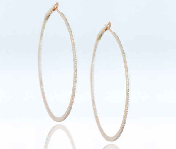 , 18K Rose Gold Diamond Hoops 2""
