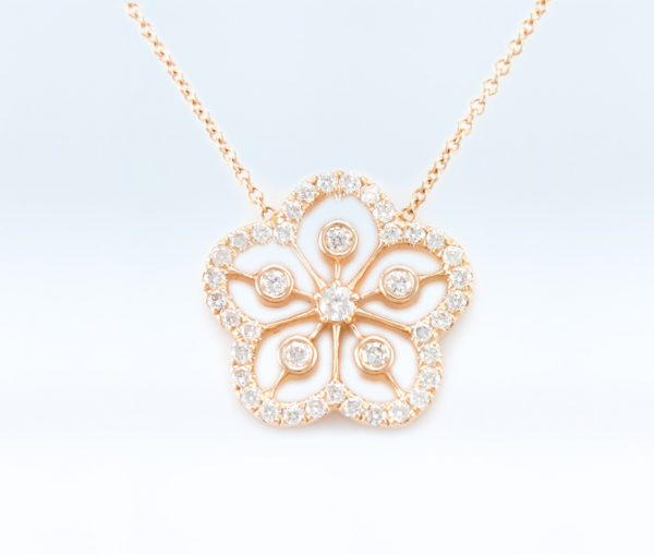, Diamond Flower in 14K Rose Gold
