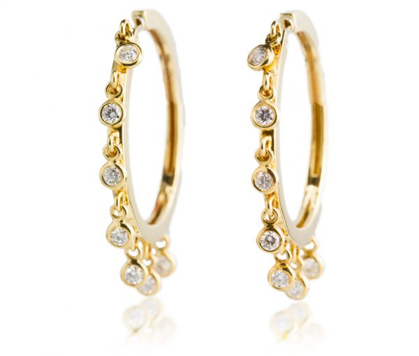 , Diamond Hoop Earrings with Drop Diamonds