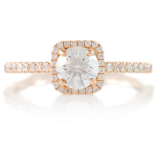 , 0.78ctw Rose Gold Engagement Diamond Ring