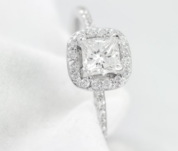 , .94CTTW Princess Cut Diamond Engagement Ring in 18K. White Gold