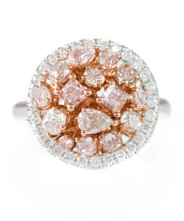 , 2.02cttw Cluster Pink Diamond Ring with White Diamonds