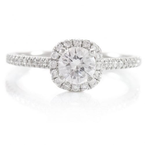 , 0.76ctw Diamond Halo Engagement Ring