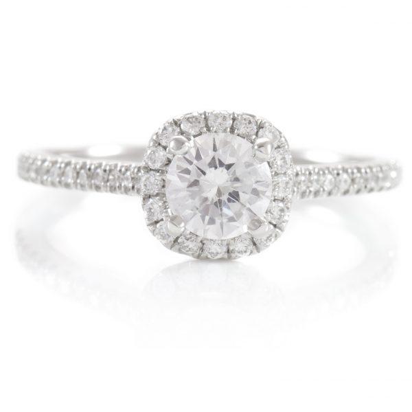 , 0.76ctw Diamond Halo Engagement Ring