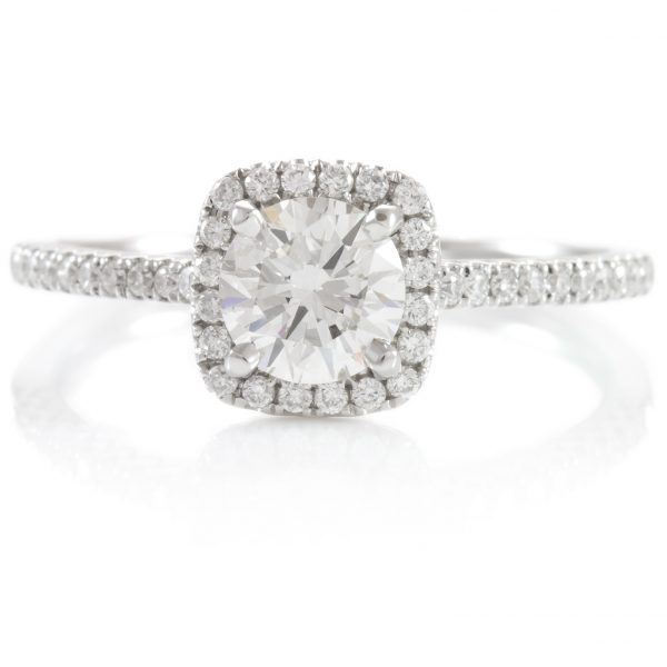 , 0.86ctw Diamond Halo Engagement Ring 14K