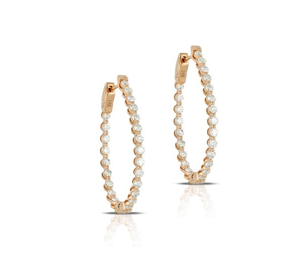 , Diamond Hoops set in 18K Rose Gold