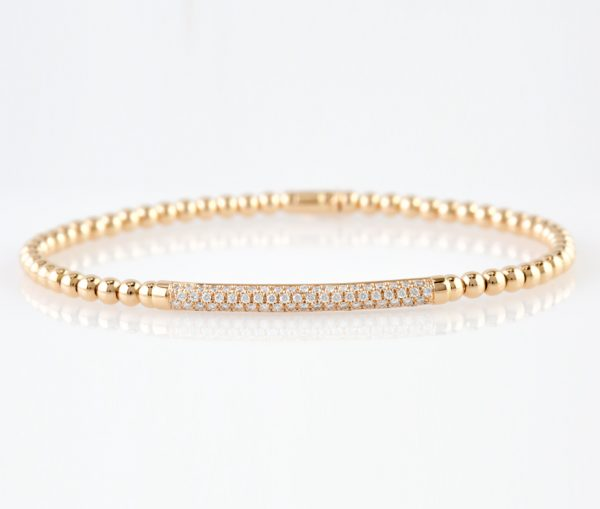 , Italian Diamond Bar Bracelet Rose Gold