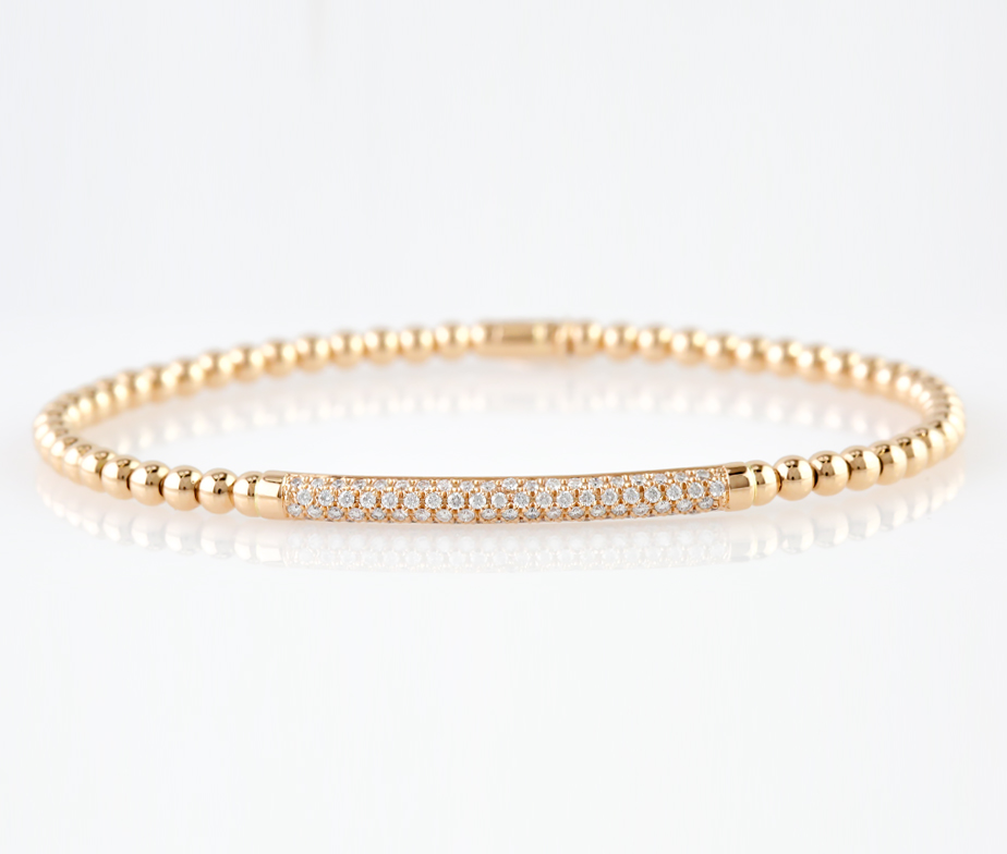 Italian Diamond Bar Bracelet Rose Gold