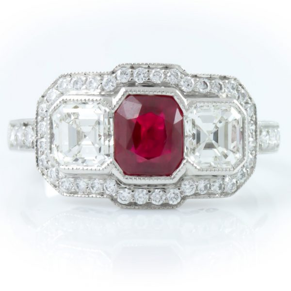 , 3 Stone Diamond and Ruby Ring