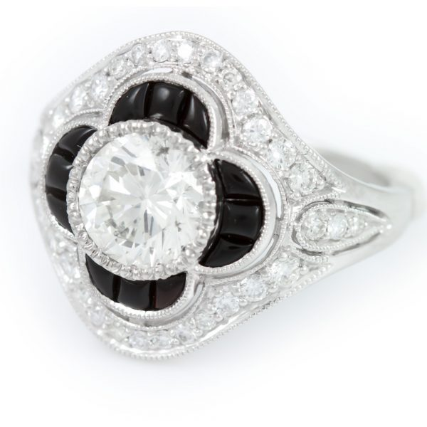 , Diamond Ring with Onyx Halo Platinum