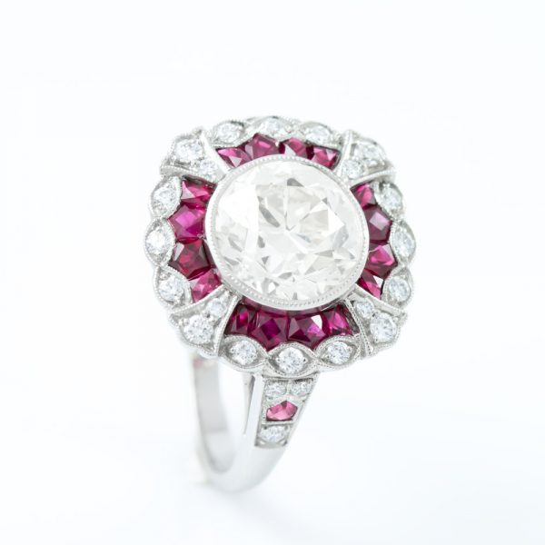 , Platinum Diamond Ring with Ruby Halo