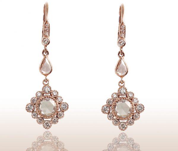 , 1.31CTTW Rose Cut Diamond in 18K Rose Gold