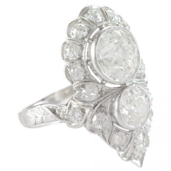 , 3.90 Carat Art Deco Diamond Platinum Dinner Ring