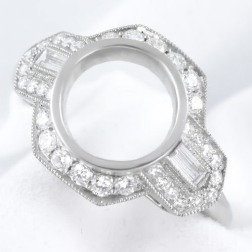 , Platinum Flower Ring in Satin Finish