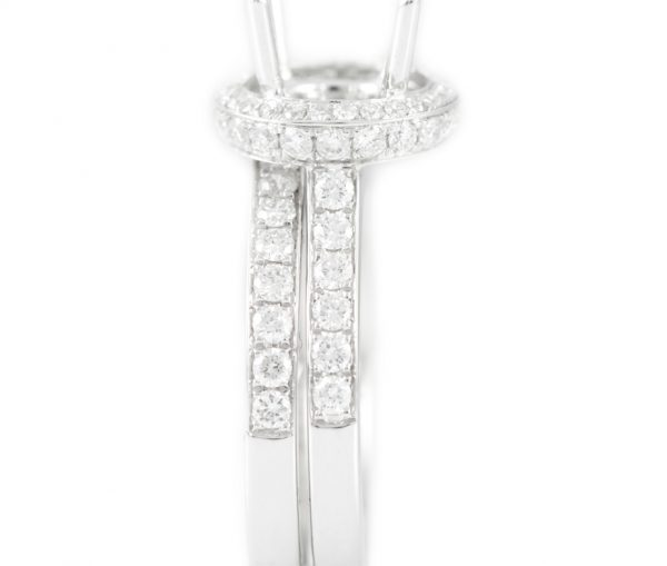 , 14K White Gold Mounting with Matching Band