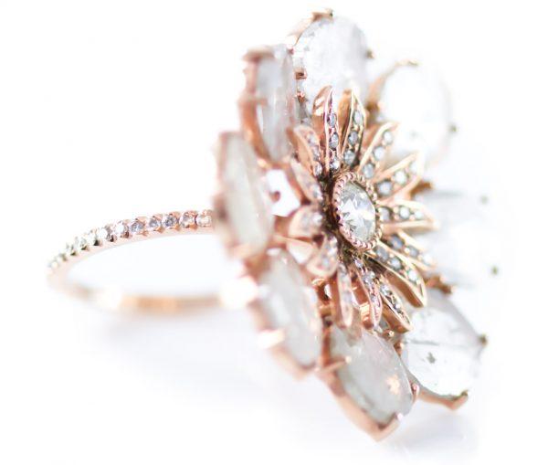 , 6.87CT Sliced Diamond Ring in 18K Rose Gold