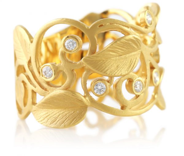 , Satin Finish Diamond Vine Ring  14K