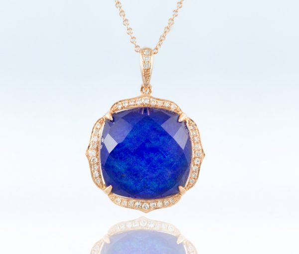 , 18K Rose Gold Pendant with Diamonds and WT/LP