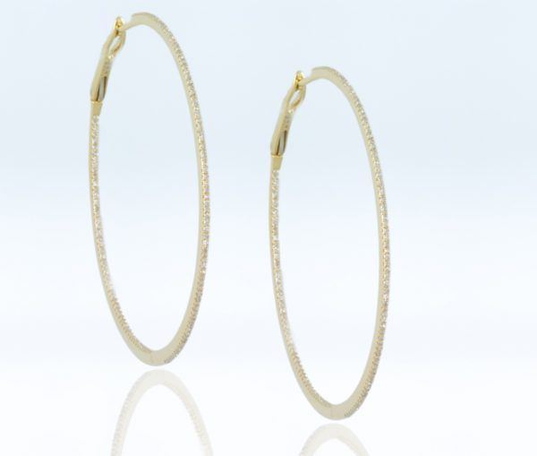 , 18K Yellow Gold Diamond Hoops 2""