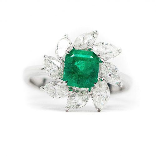 , Diamond and Emerald Stud Earrings