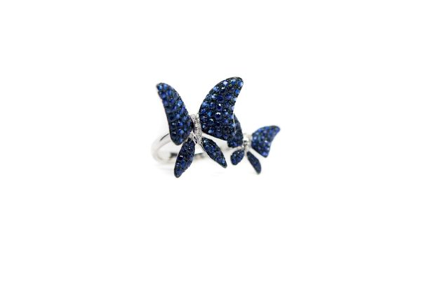 , 2 Butterfly Ring 18KT White Gold