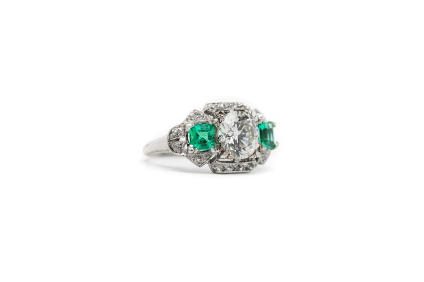 , Estate Ring 2.06 CT Diamond Center Stone with 2 Emerald Side Stones