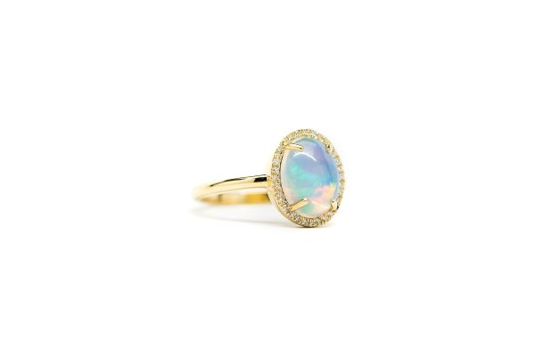 , 1.74 CT Opal Ring 0.09 CTW Dimond Halo