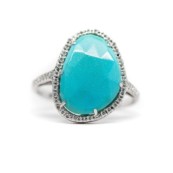 , Turquoise 18KT White Gold Ring