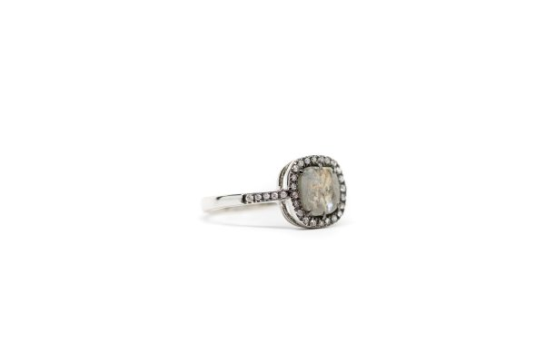 , Gray Sapphire and Diamond Ring 18K White Gold