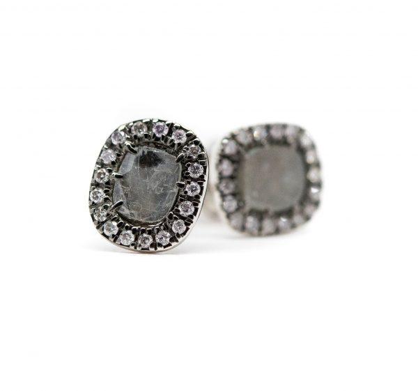 , 18 KT White Gold Gray Diamond Stud Earrings
