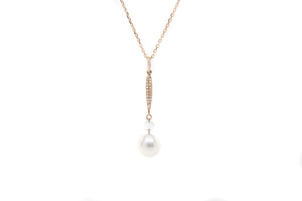 , Rose Gold Pearl Necklace 8-9MM