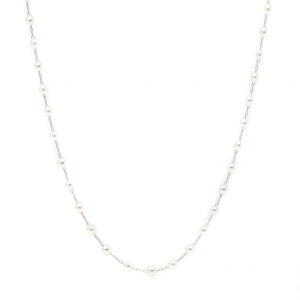 , 14KT White Gold 20″ Adjustable Necklace with 3-3.5 MM Pearls