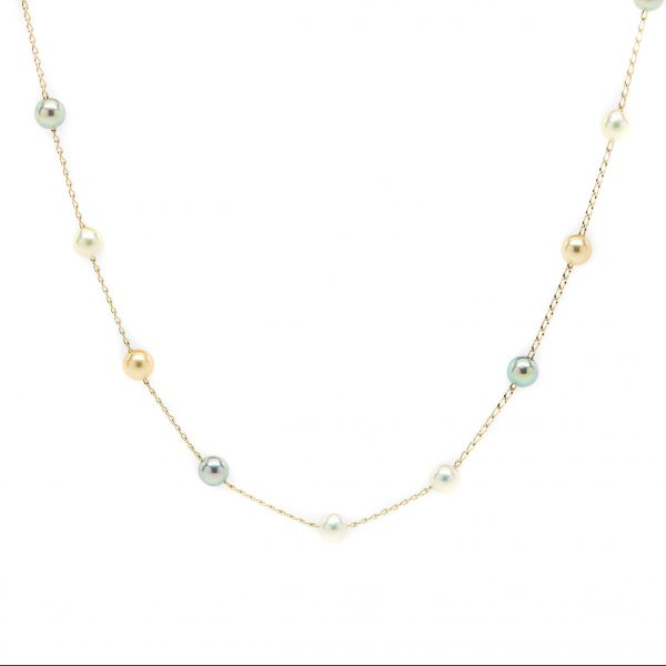 , 14KT Gold Necklace Adjustable Chain 18″ with Pearls 3-4 mm