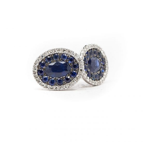 , Sapphire and Diamond Oval Cluster Earrings