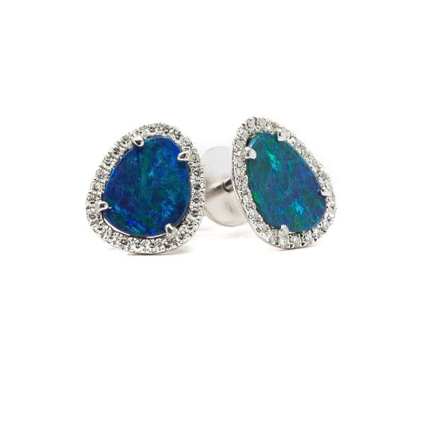 , Black Opal Doublet Diamond Earrings