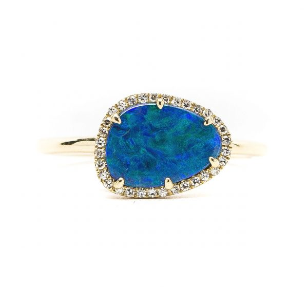 , Black Opal Doublet and Diamond Ring