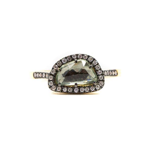 , Rose Cut Light Green Sapphire Ring