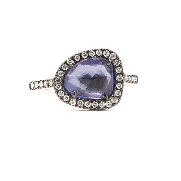 , Rose Cut Sapphire and Diamond Ring