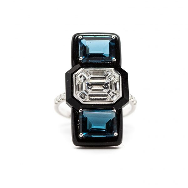 , Doves Diamond Onyx Ring