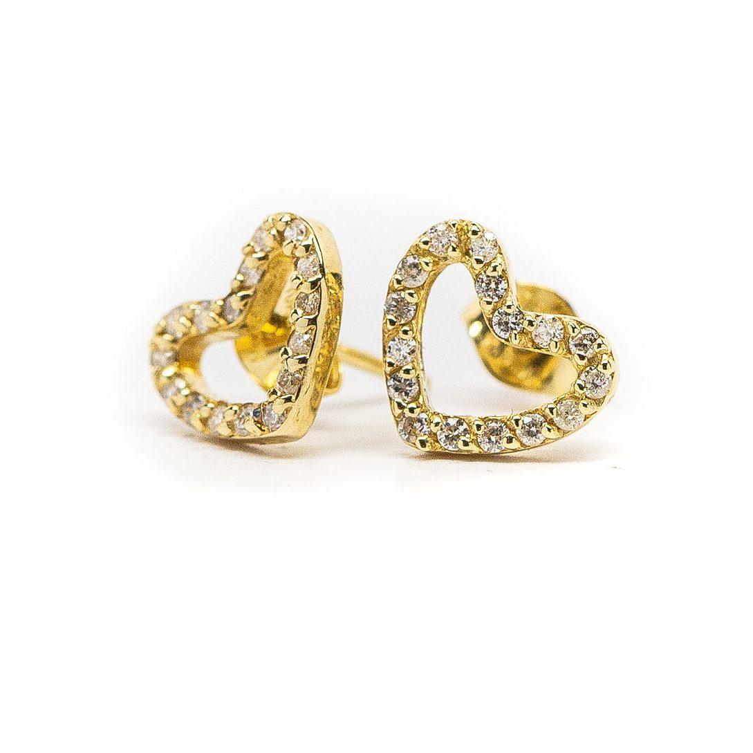 Miriams Jewelry Yellow Gold Diamond Heart Earrings Miriams Jewelry