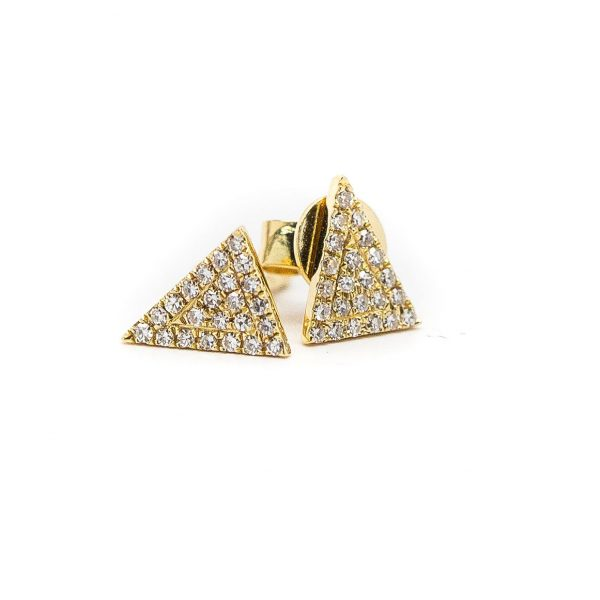 , Yellow Gold Triangle Stud