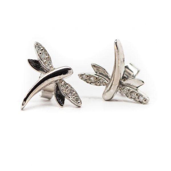 , White Gold Dragonfly Earrings