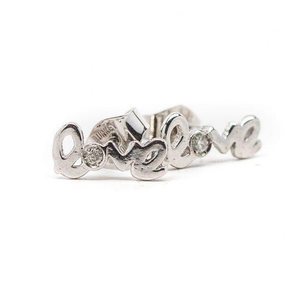 , Love Earrings 14 KT White Gold