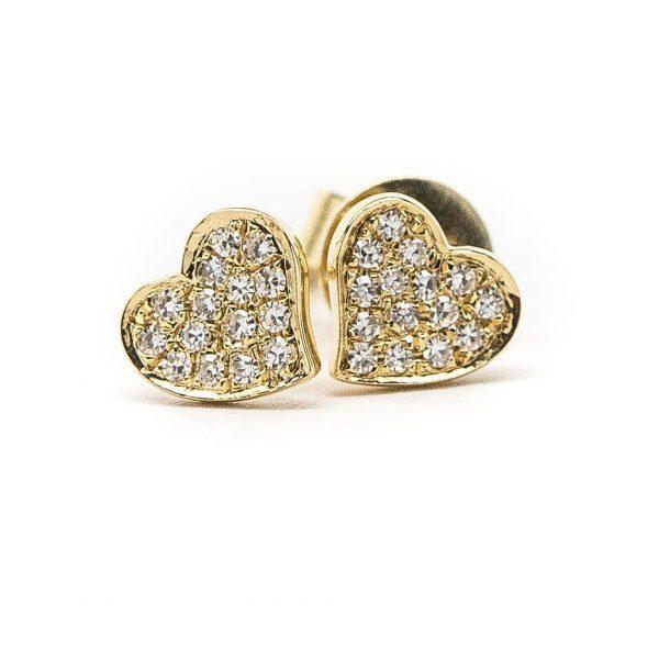 , 14 KT Yellow Gold Heart Earrings