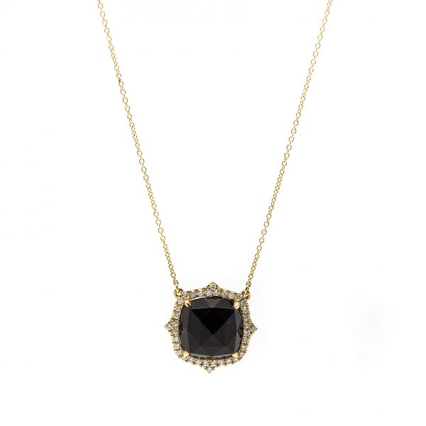 , Doves Black Onyx and Diamond Necklace
