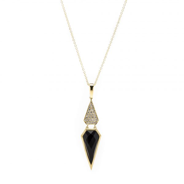 , Doves Diamond Onyx Necklace 18 KT Yellow Gold