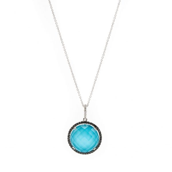 , Doves Turquoise Pendant with a Clear Quartz Doublet