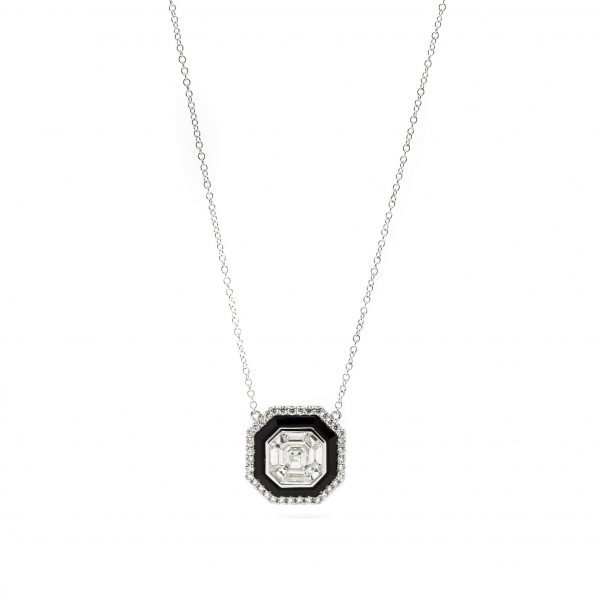, Doves Diamond Onyx Necklace 18 KT White Gold