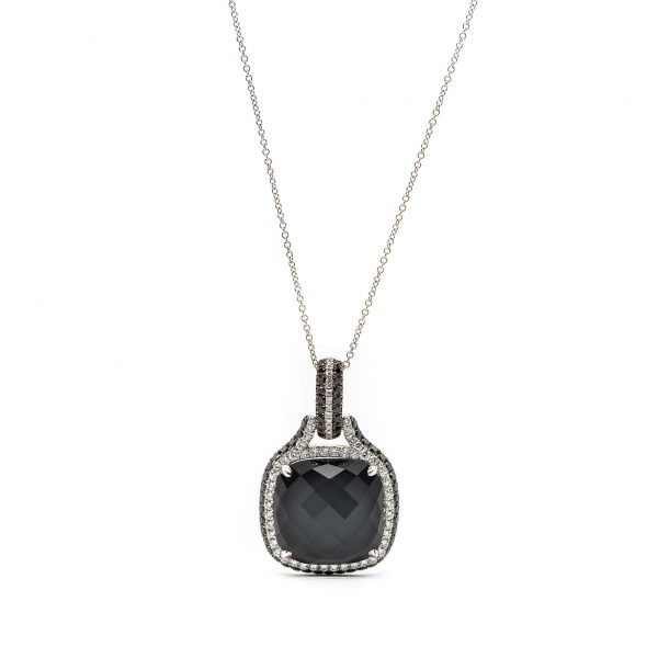 , Doublet Necklace: Hematite, Black Mother of Pearl and White Topaz
